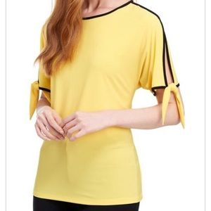 Coco Bianco Yellow Tie Cuff Cold Sleeve Top Large